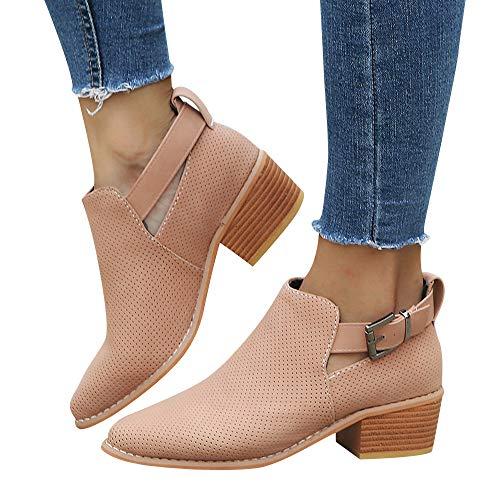 TianWlio Boots Stiefel Schuhe Stiefeletten Frauen Herbst Winter Spitze Schuhe Hohle Booties Schnallenriemen Quadratische Ferse Einzelne Schuhe Weihnachten Rosa 38