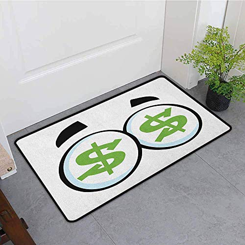 ußmatte, Auge grün Dollar Zeichen in großen Cartoon Augen Gier nach Geld Penny Pincher, Super absorbiert Schlamm, schwarz lindgrün hellblau Badematte ()