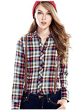 YueLian Mujeres Otoño Estilo Coreano Casual Algodón Manga Larga Blusa Camisera Camisa a Cuadros Top