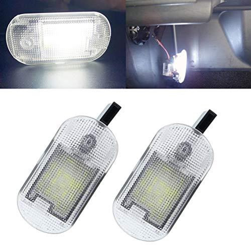 VIGORFLYRUN PARTS LTD 2pcs Auto LED Fußraum Innenraum Kofferraum Kofferraumleuchte Beleuchtung für Bettle Bora Golf Caddy/F-abia Yeti Octavia, 12V Canbus Bright Weiß Lampen Leuchtmittel