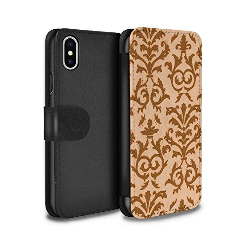 Stuff4 Coque/Etui/Housse Cuir PU Case/Cover pour Apple iPhone X/10 / Vert Design / Motif de défilement Collection Orange