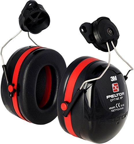 3M Peltor H540P3A-413-SV Optime III Ear Muffs, 34 dB, Helmet Mounted, Black/Red