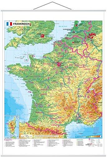 Frankreich physisch - Wandkarte mit Metallbeleistung Karte Von Frankreich