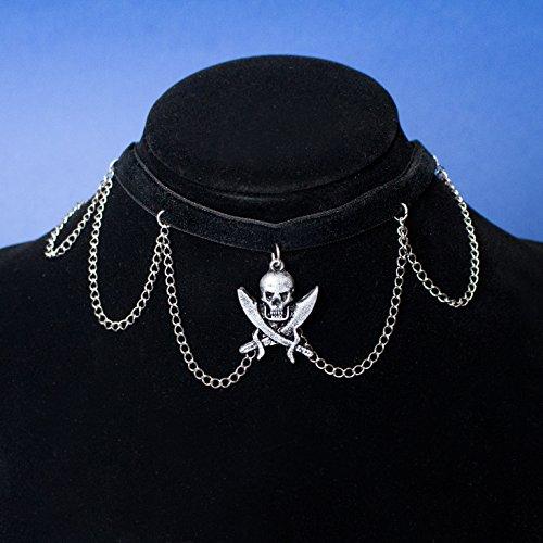 Jolly Roger Halsband, Halskette mit schwarzem Piratenhalsband mit Totenkopf und Silberketten, Gothic Anhänger Halskette für Fantasy-Kostüm und LARP, originelles Geschenk zum Valentinstag