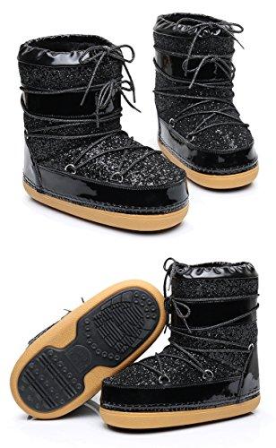 Space Boots Thick Soled Boots Female Winter Bandage Bandage Black