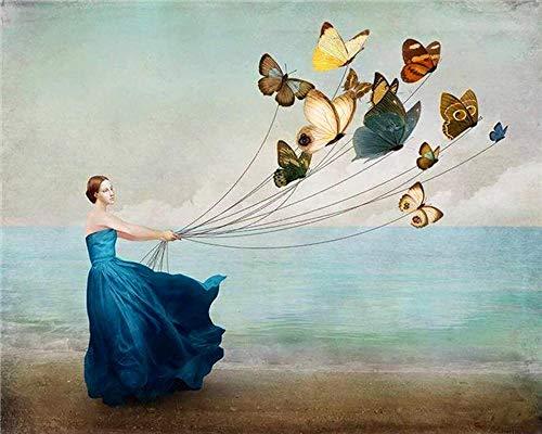 Skyty dipinto con numeri la ragazza mette un aquilone farfalla - pittura a olio digitale fai da te pittura acrilica set bambini adulti decorazioni per la casa con cornice 16x20 pollici