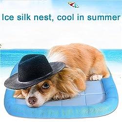 lulalula refroidissement pour animal domestique Lit, canapé lit pour chien Rembourré confortable Tapis de refroidissement Coussin Canapé Glacier Soie Net Lit pour chien, chat ou chiot (M, Bleu)