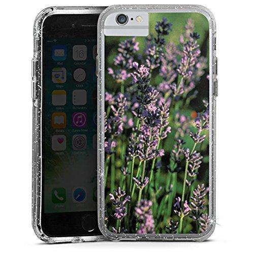 Apple iPhone 6 Plus Bumper Hülle Bumper Case Glitzer Hülle Lavendel Flowers Blumen Bumper Case Glitzer silber