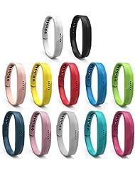 mtsugar colorido silicona Classic hebilla de correa de pulsera pulsera con seguro de accesorios de repuesto para Fitbit Flex 2, 9colores disponibles (sin Tracker, bandas de repuesto sólo), Set of 12: Large