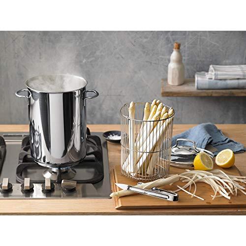 WMF Spargel/Pasta/Nudel/Kartoffel -topf, Ø 16 cm, ca. 4,5 L Schüttrand, Cromargan Edelstahl, rostfrei poliert Korbeinsatz Glasdeckel, induktionsgeeignet spülmaschinengeeignet