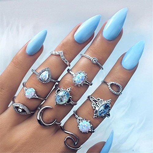 Yesiidor 12 stück Midi Ringe Set Silber Für Damen Retro Fingerring Nagel Finger