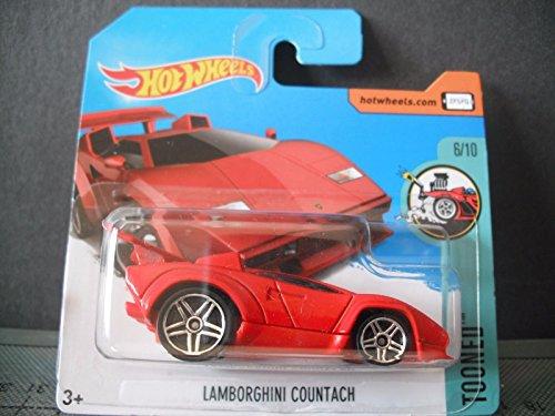 HOT WHEELS 2017 Tooned Lamborghini Countach Red 152/365 (Short Card)