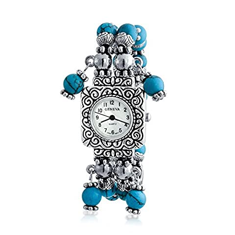 Bling Jewelry Stretch Beaded Blue Watch Silver Plated
