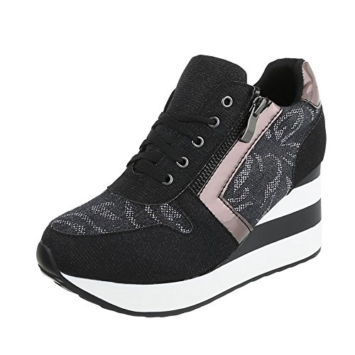 Ital-Design - Low-top Donna Schwarz Multi