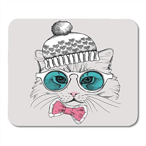 Mauspad Tier Katze Porträt Brille in Krawatte und Hut Bogen Mousepad für Notebooks, Desktop-Computer Mauspads