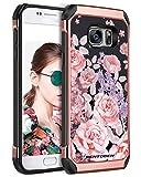 BENTOBEN Samsung Galaxy S7 Hülle, S7 Hülle Case, S7 Schutzhülle Hybrid TPU PC Cover mit Motiv Mädchen Damen Handyhülle für Samsung Galaxy S7 (Duos) Rosa Blumen