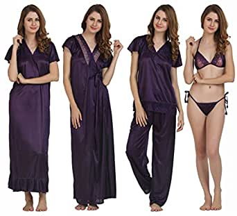 "MIAVII ""VIOLET COLOR"" ""SATIN FABRIC"" WOMEN'S NIGHTY -SET OF 6 PIECES { 1 NIGHTY+ 1 ROBE+ 1 TOP + 1 PYJAMA + 1 BRA + 1 PANTY}"