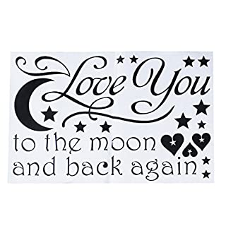 A-szcxtop I Love You to the Moon and Back Again Wall Sayings DIY Removable Wall Decal Sticker