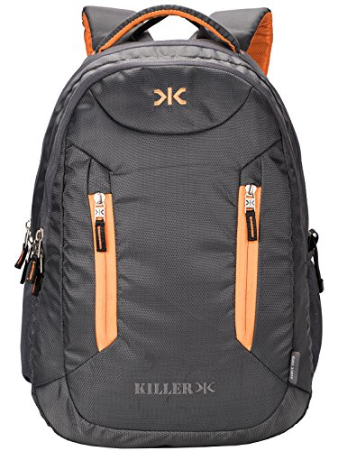 Killer Derby 38L Large Laptop Backpack With 2 Compartments Grey Polyester Trendy Waterproof Travel Backpack
