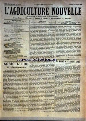 AGRICULTURE NOUVELLE (L') [No 156] du 14/04/1894 - AGRICULTURE PAR BERNARD - VESQUE - DELONCLE - PATUREL - VITICULTURE PAR BLIN - HOC ET LATIERE - HORTICULTURE PAR COUTURIER - MAGNIEN - ELEVAGE PAR GOUIN ET GEORGE par Collectif
