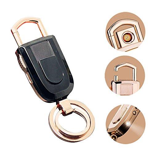 Pawaca Schlüsselanhänger Feuerzeug, Windproof Zigarettenanzünder LED Taschenlampe 2 Schlüsselring 3-in-1 Schlüsselanhänger, Leicht und USB Wiederaufladbar, Große Geschenk-Ideale