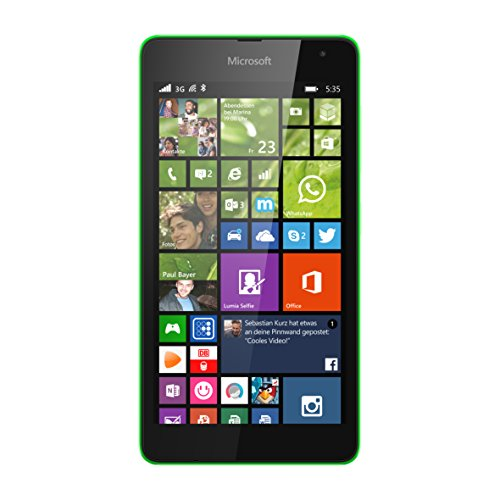 Microsoft Lumia 535 Smartphone, Display 5 Pollici, Processore Quad-Core Snapdragon 200 1,2GHz, Fotocamera 5 MP, Single-SIM, Win 8.1, Verde