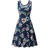 MRULIC Mädchen und Damen Prinzessin Kleid Sommer Ball Kleid Strand Sommerkleid(B-Dunkelblau,EU-36/CN-S)
