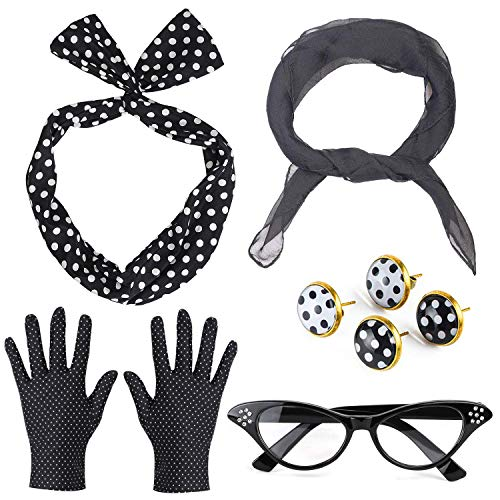 Beelittle 50's Damen Kostüm Accessoires Set Chiffon Schal Polka Dot Handschuhe Bandana Krawatte Stirnband Ohrringe Retro Cat Eye Eglasses (Schwarz) (Schwarze Handschuhe Kostüm)