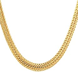 24 Carat Gold Rhodium and Gold Plated Brass Chain for Men