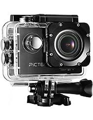 Caméra Sport, Caméra d'Action, Pictek Caméra Embarquée Etanche Enregistreur de Conduite Wifi avec 12MP Image Full HD 1080P à30fps, 2 Pouce LED Affichage 170° Grand Angle, Kit de 16 d'Accessoires Fournis