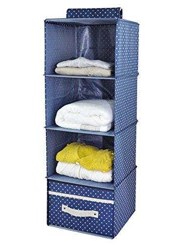 Hängende Organiserregale, 4 Fächer, separate Schublade, Garderobe Aufbewahrungstasche für T-Shirts, Unterhosen, Socken, Schals usw, blau -