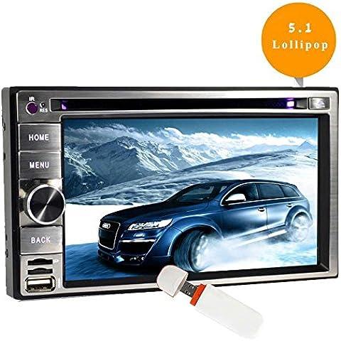 Android 5.1 Doppio DIN lettore DVD in precipitare 6,2 pollici touch screen stereo del veicolo Radio Ricevitore GPS Car Navigation Audio System supporto WiFi / OBD2 / Specchio-Link / 3G / 4G