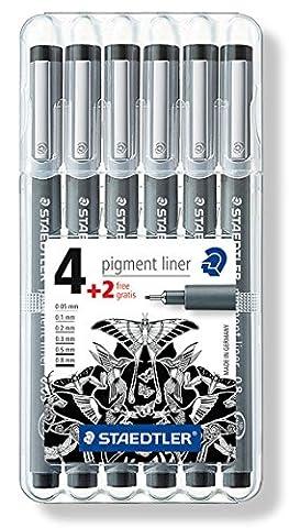 Staedtler 308 SB6P Fineliner pigment liner Set mit 6 Linienbreiten, hohe Qualität, Pigmenttinte, dokumentenecht, lichtbeständig, (Inchiostro Nero Disegno)