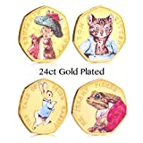 The Royal Mint Beatrix Potter Uncirculated 2017 24ct Gold Plated Full Colour 50p Pence Set
