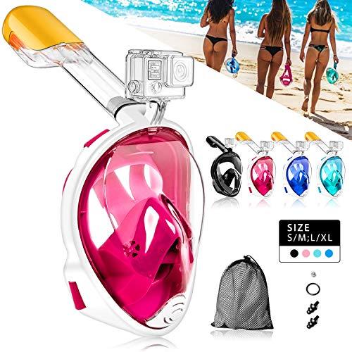 HINATAA Masque de Plongée, Snorkeling Masque Plongée Anti-Fog Full Face 180°Vue Panoramique, Anti-Buée Anti-Fuite pour Enfants et Adultes,avec Support de Caméra GoPro (Rose, S/M)