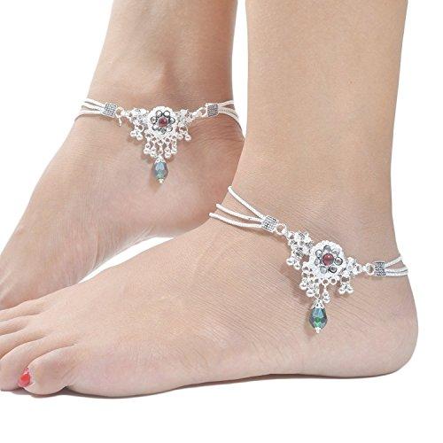 Charms Diva Silver Alloy Anklet For Girls & Women