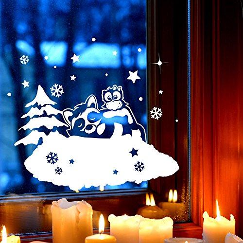 Fensterbild Waschbär & Eule Deko Winter Fensterbilder Fensterdeko 28 x 19cm Schneeflocken Sterne und Punkte selbstklebend für Kinder M2253 ilka parey wandtattoo-welt®