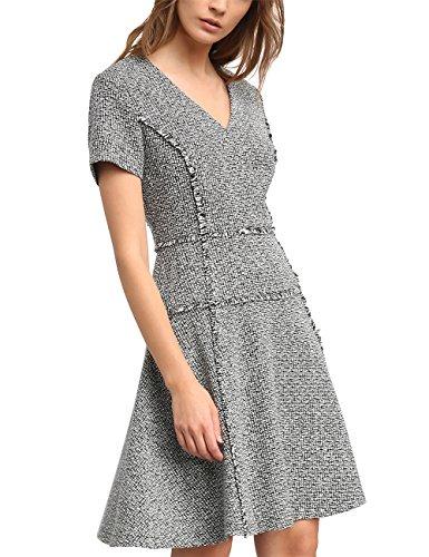 APART Fashion Damen 64017 Kleid, Mehrfarbig (Schwarz-Creme), 40