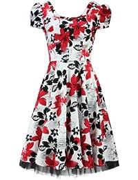 H&R London Robe MODERN FLOWERS DRESS blanc-rouge
