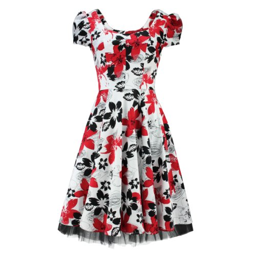 H&R London Robe MODERN FLOWERS DRESS blanc-rouge Blanc