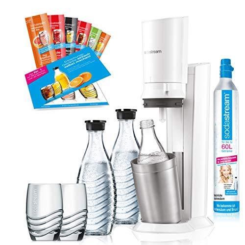 SodaStream Crystal 2.0 weiß Promopack   Sprudler + 2 Glaskaraffen + 1 CO-Zylinder + 2 Gläser + 6 Sirupproben   Wassersprudler