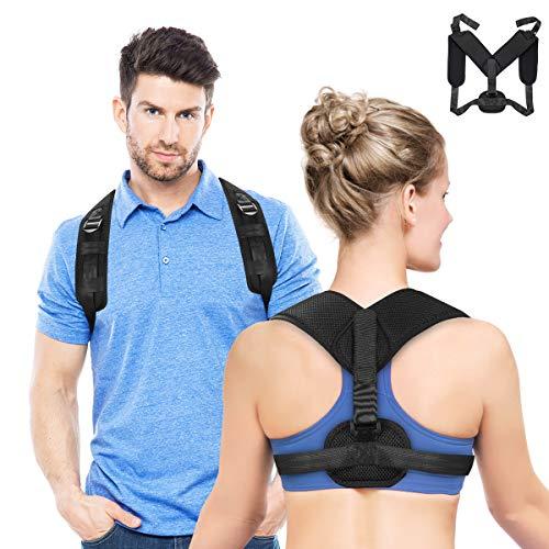 Fothwell Haltungstrainer,Geradehalter zur Haltungskorrektur Rückentrainer Schulter Rückenstütze mit 2 Achsel Schutzpolster, Rückentrainer eine Größe vorne Verstellbarer Schultergurt