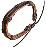 Leather & cord bracelet / leather wristband / surf bracelet
