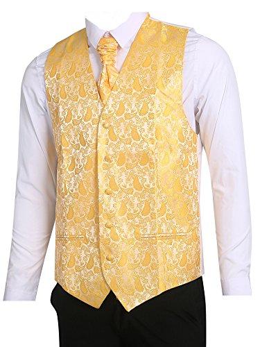 LL L & L Herren Weste mit Paisley-Muster Weste und Krawatte Einstecktuch Set für Anzug - UK Weihnachten - Gelb, Chest 44'' XXXL