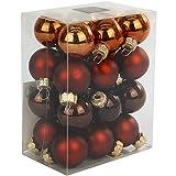 24 Weihnachtskugeln Glas 25 mm Glaskugeln Christbaumkugeln Weihnachten Kugeln Farbe : brauntöne (matt + glänzend)