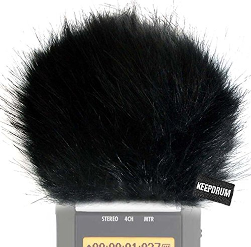 keepdrum WS-BK Fell-Windschutz Windscreen Windshield für Digital-Rekorder Videomikrofon Handy-Recorder Bk Mobile