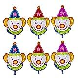 Amosfun 6pcs Palloncino in Alluminio Pagliaccio Palloncini in Elio Mylar Palloncini Carini Palloncini per Carnevale Circo Festa Decorazione Forniture (Multi)