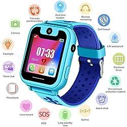 PTHTECHUS Niños Smartwatch - Reloj de Pulsera Inteligente con ubicación LBS Reloj Despertador SOS Reloj Digital Cámara Linterna Juegos para niños compatibles con iOS/Android