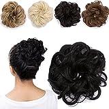 Haargummi Haarteil Dutt Synthetik Haare für Haarknoten Gummiband Hochsteckfrisuren Haarband Naturschwarz