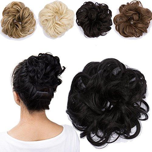 Haargummi Haarteil Dutt Synthetik Haare für Haarknoten Gummiband Hochsteckfrisuren Haarband...